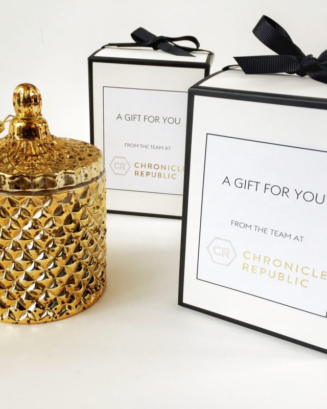 Custom candle with gold foil label