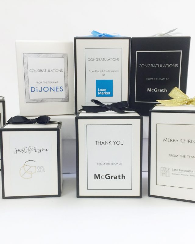 We create your very own custom candle label and gift box with your brand colours, logo and message. Many designs to choose from.